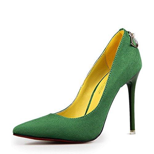 Minetom Minetom Donna Scarpe Col Tacco Stiletto Scamosciato Semplice Pump Shoes Elegante Scarpe Con Tacco Décolleté Scarpe Verde EU 36