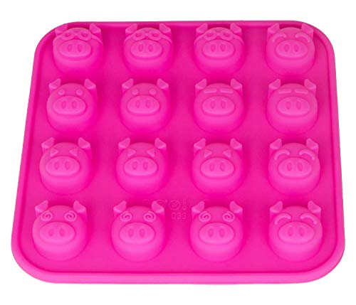 Silikonform mit 16 Schweinchen, Pralinenform, Schokolade, Giessform, Silicone Mold, Kindergeburtstag, Eiswürfel, Kuchenverzierung, Pig, Silvester, New Year, Glück, Deko Kuchen, Farbe: Pink, BlueFox