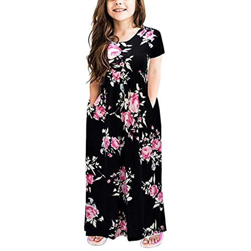 Alwayswin Mode Mädchen Sommer Kleid Kleinkind Baby Blumendruck Baumwollmischung Kleid Kind Kurzarm Mit Tasche O Kragen Langes Kleid Freizeit Prinzessin Party Kleid Outfits Kleidung