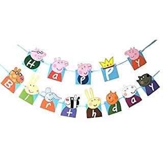 Peppa Pig Theme Party Decorative Birthday Party Supplies Decoration Banner