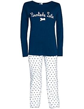 Mädchen Schlafanzug blau weiß Pyjama Himmlische Zeiten Louis & Louisa