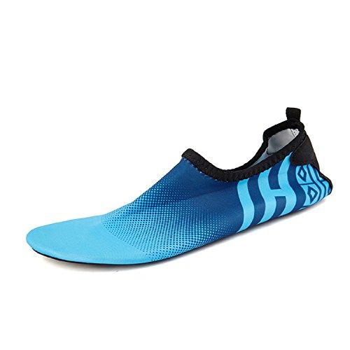 Hommes Femmes Eau Sport Chaussures Aqua Chaussettes Chaussures D'eau Séchage Rapide Piscine Plage Exercice Yoga Chaussures Bleu