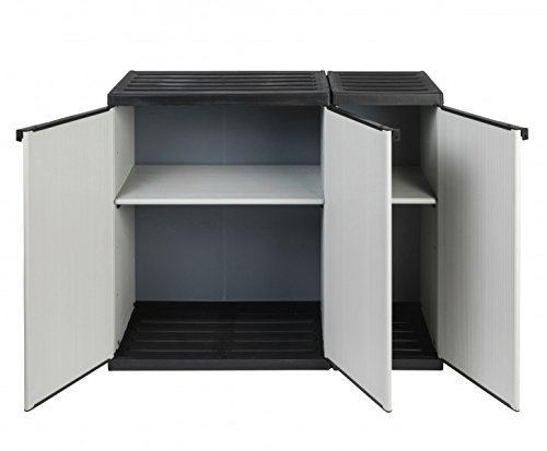 """Modularer Universal Kunststoffschrank Kommode""""2 in 1"""" mit drei Türen und höhenverstellbaren Böden. Robuste Ausführung, in Grau. Maße BxTxH : 102 x 39,5 x 85 cm."""