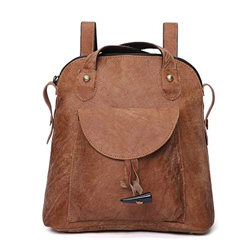 HWX Women es New Multi-Function Backpack, European and American Leather Girl Double Backpack, Retro Fashion Ladies Shoulder Bag