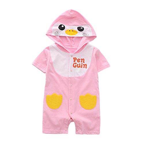Riou Jumpsuits Anzug,Baby Kleidung Mädchen Jungen (0-24 Monate) Karikatur Druck Overalls Sommerkleidung Sommer Party Spielanzug Strampler Bodys Einteiler (12M, Rosa)