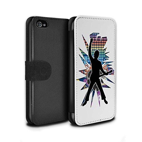 Stuff4 Coque/Etui/Housse Cuir PU Case/Cover pour Apple iPhone 4/4S / étendre Blanc Design / Rock Star Pose Collection Windmill Blanc