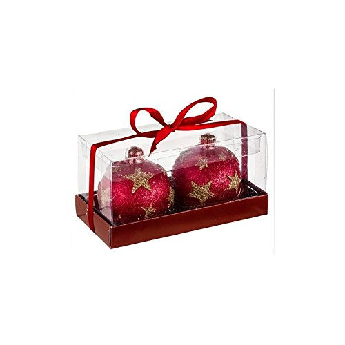 Vela de bolas de Navidad–juego de 2–D 6,5cm–rojo