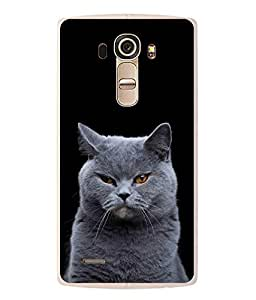 Fuson Designer Back Case Cover for LG G4 :: LG G4 Dual LTE :: LG G4 H818P H818N :: LG G4 H815 H815TR H815T H815P H812 H810 H811 LS991 VS986 US991 (cat Fluffy Cat Fat CAt Black cat grey Cat cute CAt)
