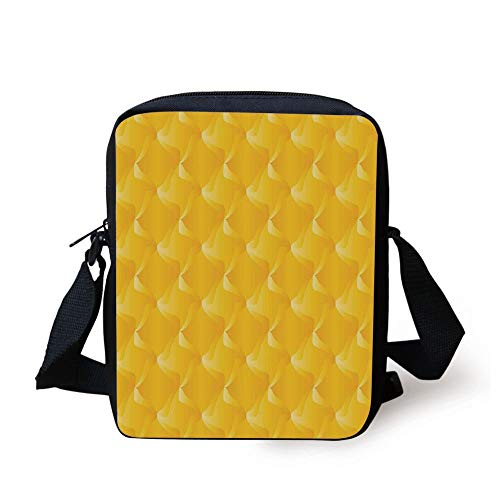 KLYDH Yellow,Abtract Shaded Curving Lines and Swirling Motifs Patterns Style Crystal Decorative Living,Yellow Print Kids Crossbody Messenger Bag Purse -