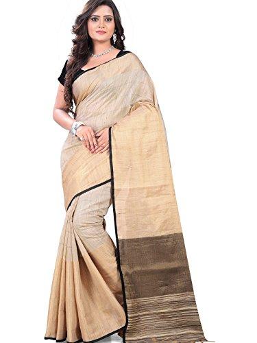 Fabattic Women's Linen Silk Saree With Blouse Piece (Chi02_Beige)