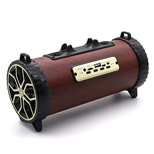 Altsommer Kabelloser Bass 3D HiFi Stereo-Retro-Dual-Lautsprecher aus Holz mit 8W,Bluetooth-Verbindung, 3,5-mm-Audiobuch,Tagbar Lautsprecher mit Alle Handys Tablet PC Laptop (Rot)