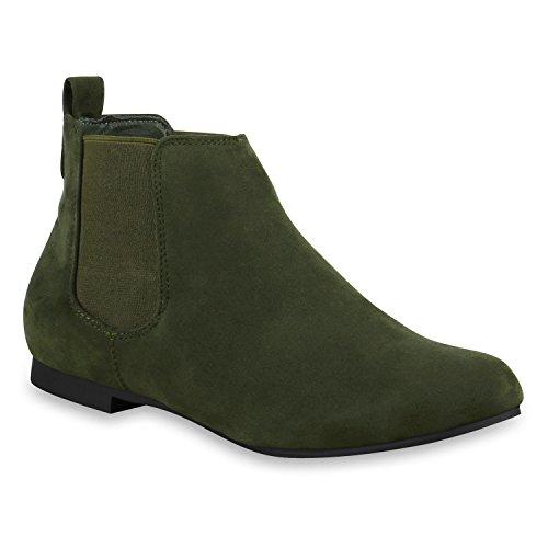 Damen Chelsea Boots Lederoptik Stiefeletten Modisch Dunkelgrün