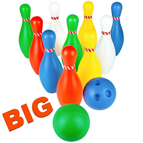 Jerryvon Bowling Set Kids Bowling Game 10 Pin Bowls & 2 Balls Plastic Skittles Indoor Outdoor Sports Toys Early Learning Party Favors for Toddlers 3 4 Year Old