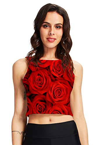 chicolife Damen Womens Allover-rote Rose Print Vintage T-Shirts -