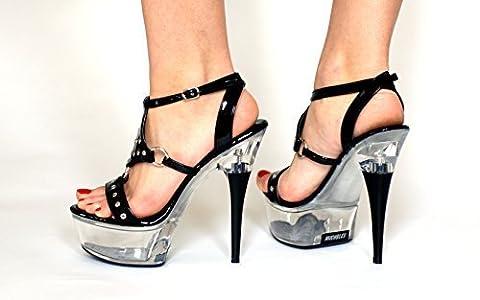 Black PVC Studded Platform High Heel Sandals Shoes FSPVC7910BCBH UK 4 5 6 7 8