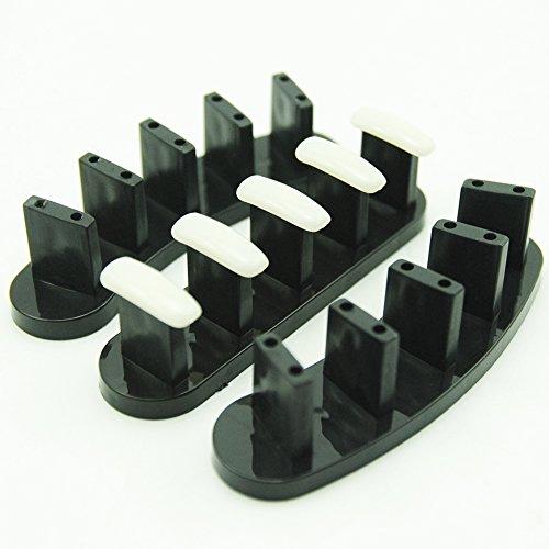 Coscelia 3pc Support d'entrainement Nail Art avec 10 pc Faux Ongles Salon Outils Présentation pour Salon de Beauté-Noir
