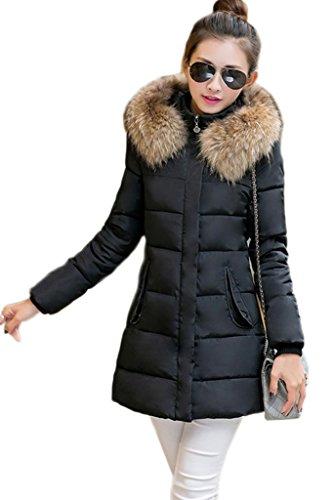 Toyobuy Veste Zippée Femme Manteau à Capuche Fourrure Automne Hiver Mi-long Chauffant Noir Buste 104cm