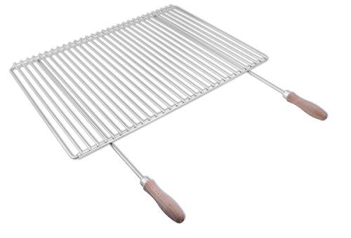 Edelstahl Grillrost mit verstellbarer Breite 60-70X45cm aus Europäischem Edelstahl mit Holzgriffen, Verstellbarer Grillrost, Grillrost Ausziehbar