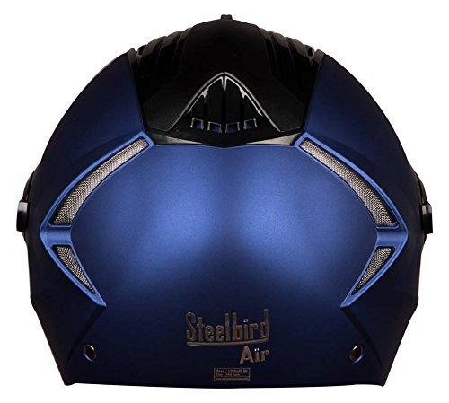 Steelbird SBA-2 (DULL BLUE) SUPREME Stylish Helmet For Bikers -come's Transparent Visor For Night Vision AUTOTRUMP Brand Helmet lock