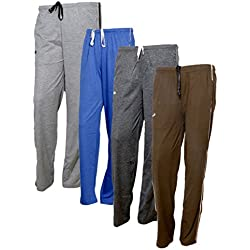 IndiWeaves Women's Premium Cotton Lower with 1 Zipper Pocket and 1 Open Pocket(Pack of 4)_Grey::Grey::Brown::Brown-42