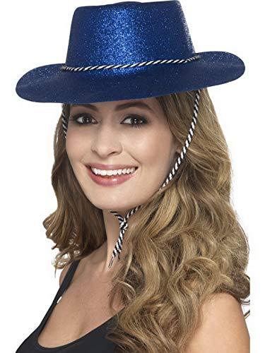 Halloweenia - Kostüm Accessoires Zubehör Damen Herren Western Glitzer Cowboy Cowgirl Hut mit Kordel, perfekt für Karneval, Fasching und Fastnacht, Blau