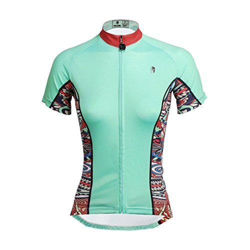Women's Short Sleeve Cycling Jersey Jacket Moisture Wicking Outdoors Sports Shirt Quick Dry Breathable Mountain Clothing Bike Top Cyan Blue Multicolor X-Large (Lady Sleeve Short Cycling Jersey)