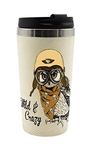 infinite by GEDA LABELS (INFKH) 13718 Vintage Tiere Eule Coffee to go Becher, Thermosbecher, Mehrwegbecher, Mehrfarbig (Eule Thermo Becher)