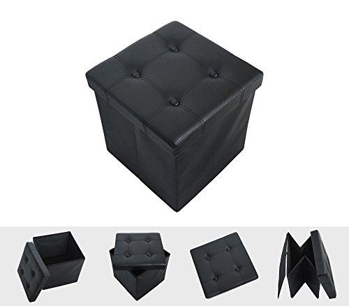 Todeco - Almacenamiento Banco, Almacenamiento Otomano Plegable de Cuero - Carga máxima: 150 kg - Material: Imitación de cuero - Acabado cosido y copetudo, 38 x 38 x 38 cm, Negro