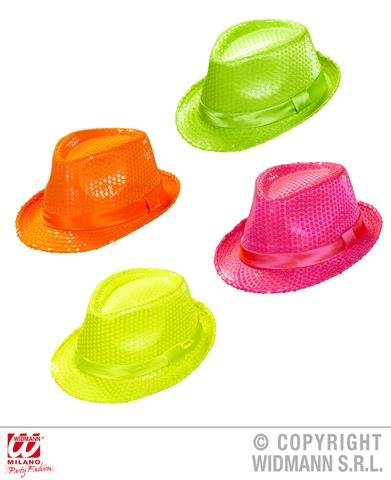 1 NEON SEQUINED FEDORA HAT ACCESSORY FOR 20S 30S 50S GANGSTER MOB FANCY DRESS UP COSTUMES (PINK/GREEN/ORANGE/YELLOW)