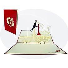LIN-POP UP Karten Hochzeitskarten, Hochzeitseinladungen Valentinskarten 3D Karten Grußkarten Hochzeit, Hochzeitsglückwunsch, Brautpaar auf Blumenstreifel