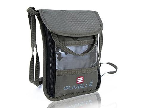 Suvelle RFID-Blocking Travel Neck pouch, Neck Stash Passport Holder Bag, Anti- Theft Hidden Wallet