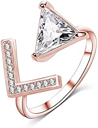 Jewels Galaxy Crystal Elements Limited Edition Sparkling White 18K Rose Gold Adjustable Ring For Women/Girls