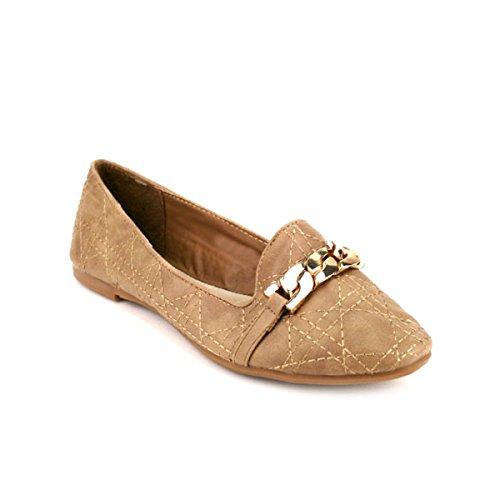 Cendriyon, Ballerine Beige Mode Mocassin CARLA Chaussures Femme Beige