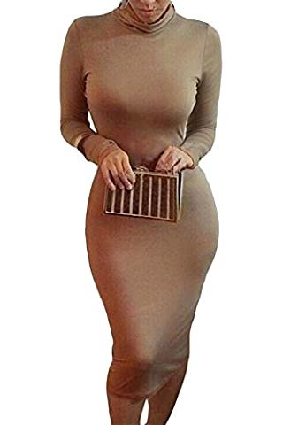 Alaix Robe effet bandage moulante et sexy à coupe ajustée longue sans manches à col cheminée pour soirée et fête, Marron, X-Large