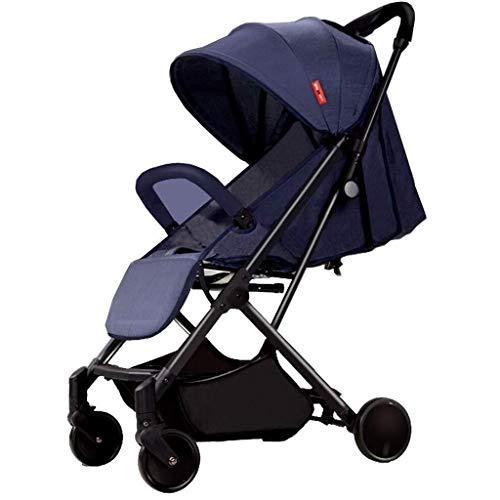 JIDKFJ Pram Kinderwagen, Kompakte, Leichte Sportwagen Travel Systems, Recline-Baby-Buggy for Flugzeug, Folding Baby-Trolley, Verstellbare Rückenlehne, Blau