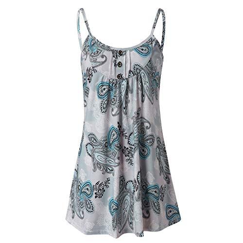 Junjie Frauen beiläufige gedruckte ärmellose Weste Bluse Trägershirts ärmellos Spitze Sommer Prinzessin Kleid Party Camis Kleidung schwarz, blau, grau -