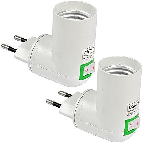 MENGS® Pack de 2 PP de calidad en E27 adaptador convertidor de enchufe de la lámpara con el material de la resistencia ABS de alta temperatura
