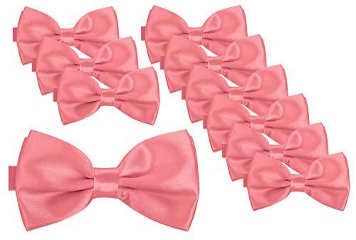 BomGuard Fliege für Herren lachs I Männer Fliege für Hochzeit, Party oder edele Anlässe I Trendy Bow Tie I 10er Set Weiß Bow Tie Set