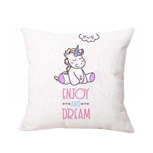 Sunwords Unicornio de dibujos animados Imprimir Throw almohada de la caja de cojín Inicio de la cama Sofá decoración del coche de la cintura