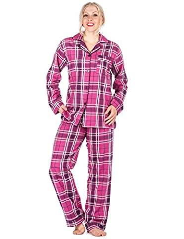 Womens Cotton Flannel Pyjama Sleepwear Set - Plaid Purple/Pink -