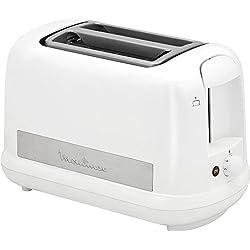 Moulinex LT162111 Grille-Pain Toaster Principio + Plus 2 Fentes Décongélation Thermostat Réglable 850W Centrage Automatique Pain Inox et Blanc