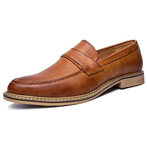 Homme chaussure de ville sans lacet mocassin loafers chaussure en cuir derby brogues microfibre fashion Marron Clair