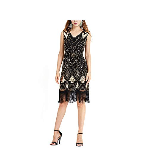 Damen Arbeitskleider Womens Gatsby Kleid inspiriert Pailletten Perlen Fringe Flapper Kleid ärmellose formale Party Abendkleid Vintage Cocktailkleid Rhythmus Kostüm Kleid Lässige Business-Abendgarderob
