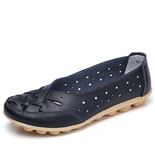 SCIEU Damen Mokassin Bootsschuhe Hohl Leder Loafers Schuhe Flache Fahren Halbschuhe Slippers, Schwarz 42 (Loafer Bootsschuhe)