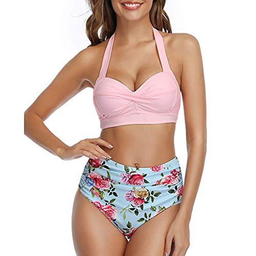 Briskorry Damen Bademode Push Up Bikini Set Geteilter Badeanzug Grosse GröSsen Neckholder Triangel Oberteil Hohe Taillen Zweiteiler Beachwear Sport Split Blumen Bikinihose