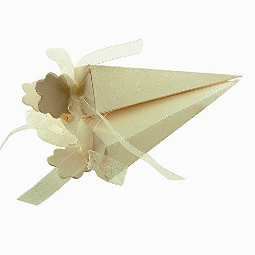 100 pcs Cajas Conos de Bombones para Guardar Arroz, Caramelos, Galletas Pequeñas Regalo, Detalle, Recuerdo, Decoración, Favor para Invitados de Boda (4x4x15,5 cm) (Amarillo)