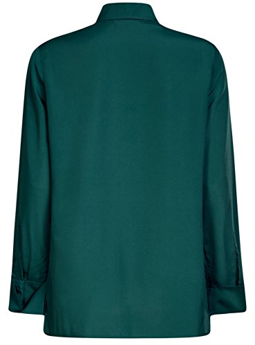 oodji Collection Damen Lässige Bluse mit Deko-Steppnähten auf der Brust Grün (6E00N)