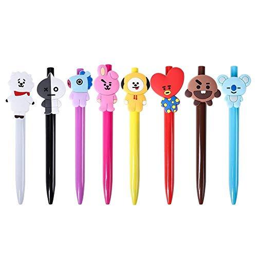 Yixinlifeas Juego de 8 Piezas de 8 Versiones Coreanas del bolígrafo de Gel de Tinta Negra Unisex BTS Lindo Q versión