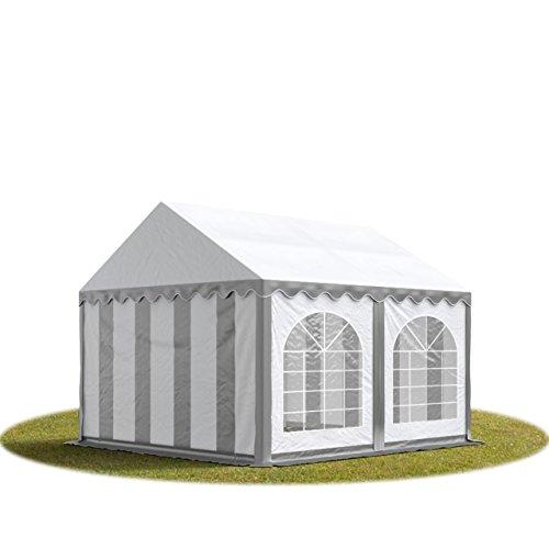 TOOLPORT Tente Barnum de Réception 3x3 m Premium Bâches Amovibles PVC 500 g/m² Gris-Blanc + Cadre de Sol Jardin INTENT24
