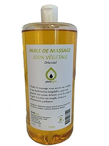 HUILE DE MASSAGE MODELAGE 100% végétale, senteur ORIENTALE, 1 LITRE,